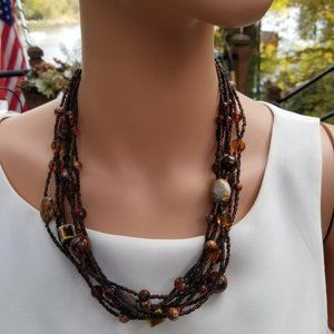 Micro Brown Casual Beaded 7 Strand Necklace